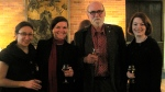 Graeme Gibson with Laura Stenberg, Anne Joldersma, and Sarah Webster from the O.W. Toad office at Massey College launch of The Bedside Book of Birds